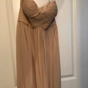 Pale pink strapless cocktail dress
